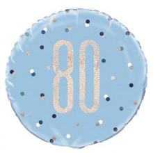 Glitz Foil Balloon Age 80 Blue