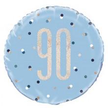 Glitz Foil Balloon Age 90 Blue
