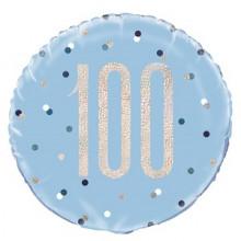 Glitz Foil Balloon Age 100 Blue