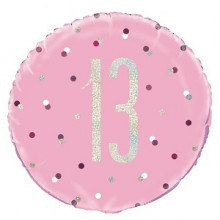 Glitz Foil Balloon Age 13 Pink