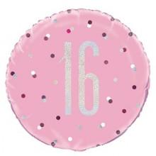 Glitz Foil Balloon Age 16 Pink