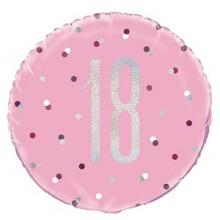 Glitz Foil Balloon Age 18 Pink