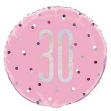 Glitz Foil Balloon Age 30 Pink