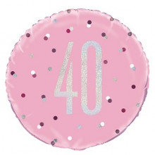 Glitz Foil Balloon Age 40 Pink