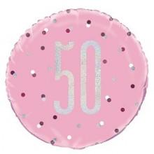 Glitz Foil Balloon Age 50 Pink