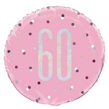 Glitz Foil Balloon Age 60 Pink