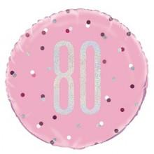 Glitz Foil Ballon Age 80 Pink