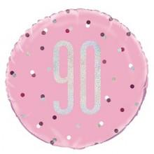 Glitz Foil Balloon Age 90 Pink