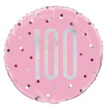 Glitz Foil Balloon Age 100 Pink