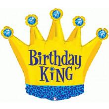 "Birthday King Crown Foil Balloon 36"""