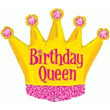 "Birthday Queen Crown Foil Balloon 36"""