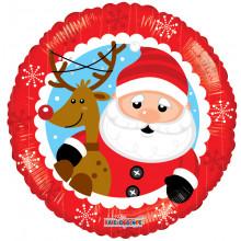 "Foil Balloon Santa & Reindeer 18"""