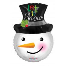 """Foil Balloon Snowman Head Shape 18"""""""