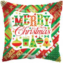 """Foil Balloon Merry Xmas Text 18"""" Pillow"""