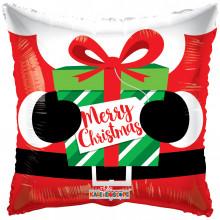 "Foil Balloon Santa Present 18"" Pillow"