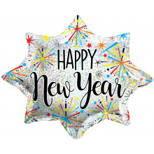 "Foil Balloon New Year Explosion Star 18"""