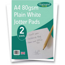 Diamond Value A4 Jotter Pads Plain White 80gsm 2pk