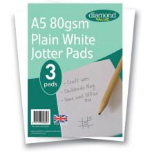 Diamond Value A5 Jotter Pads Plain White 80gsm 3pk
