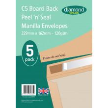 Diamond Value C5 Board Back Envelopes 5pk 120gsm