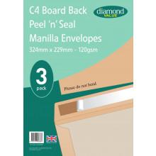 Diamond Value C4 Board Back Envelopes 3pk 120gsm
