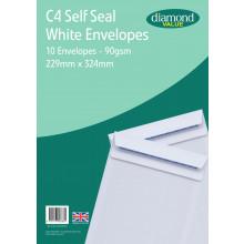 Diamond Value C4 White Envelopes Self Seal 10's 90gsm