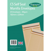Diamond Value C5 Manilla Envelopes Self Seal 25's 80gsm