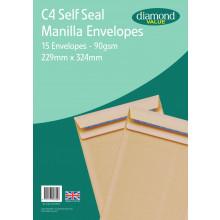 Diamond Value C4 Manilla Envelopes Self Seal 15's 90gsm