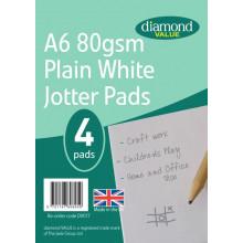 Diamond Value A6 Jotter Pads 80gsm Plain White 4pk