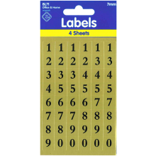 Labels Black Numbers 7mm Gold Background