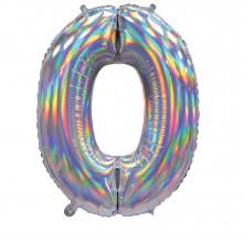"""30""""Iridescent Silver 0 Foil Balloon"""