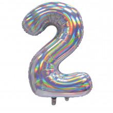 """30"""" Iridescent Silver 2 Foil Balloon"""