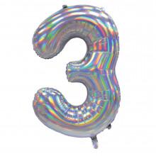 """30"""" Iridescent Silver 3 Foil Balloon"""