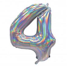 """30"""" Iridescent Silver 4 Foil Balloon"""