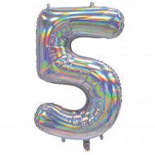 """30"""" Iridescent Silver 5 Foil Balloon"""
