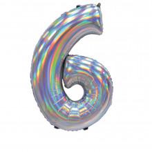 """30"""" Iridescent Silver 6 Foil Balloon"""