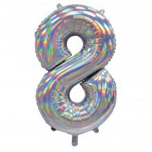 """30"""" Iridescent Silver 8 Foil Balloon"""