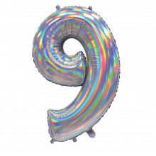 """30"""" Iridescent Silver 9 Foil Balloon"""