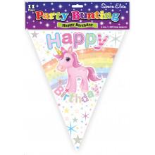 Unicorn Birthday Bunting - 11 Flags 3.6m