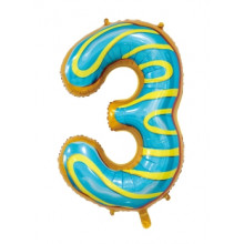 """30"""" Biscuit Number 3 Foil Balloon"""