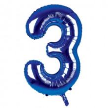 "34"" Dark Blue Number 3 Foil Balloon"