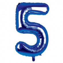 "34"" Dark Blue Number 5 Foil Balloon"