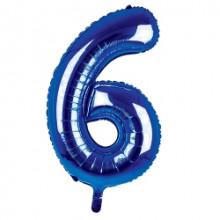 "34"" Dark Blue Number 6 Foil Balloon"