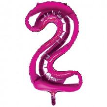 """34"""" Dark Pink Number 2 Foil Balloon"""