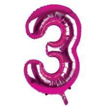 """34"""" Dark Pink Number 3 Foil Balloon"""