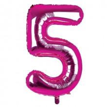 """34"""" Dark Pink Number 5 Foil Balloon"""