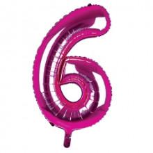 """34"""" Dark Pink Number 6 Foil Balloon"""