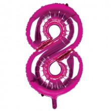 """34"""" Dark Pink Number 8 Foil Balloon"""