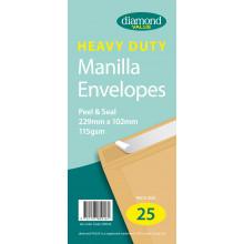 Diamond Value Heavy Duty Manilla Envelopes Peel &Seal 229x102mm