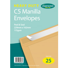 Diamond Value Heavy Duty Manilla Envelopes Peel & Seal 229x162mm C5