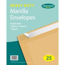 Diamond Value Heavy Duty Manilla Envelopes Peel & Seal 270x216mm